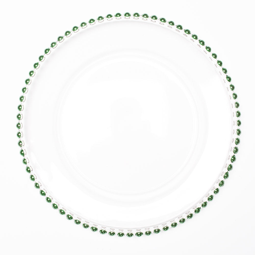 "Richland 13"" Green Beaded Glass Charger Plate"