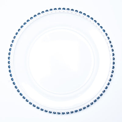 "Richland 13"" Blue Beaded Glass Charger Plate Set of 12"