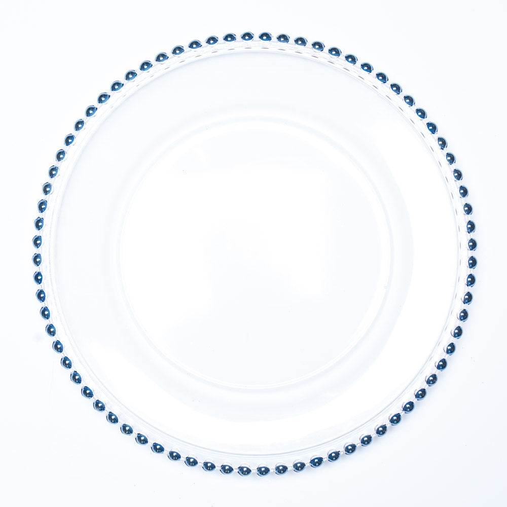 "Richland 13"" Blue Beaded Glass Charger Plate"
