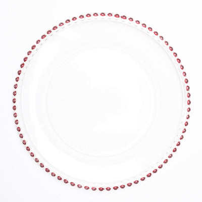 "Richland 13"" Red Beaded Glass Charger Plate Set of 12"