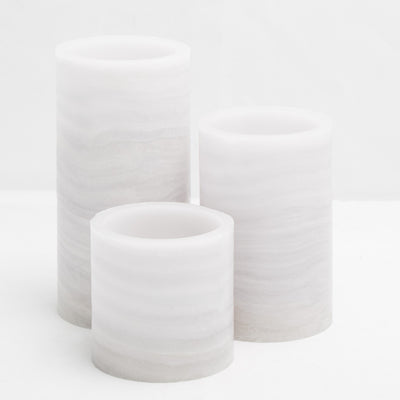 richland flameless led pillar candle marble 4 x 8