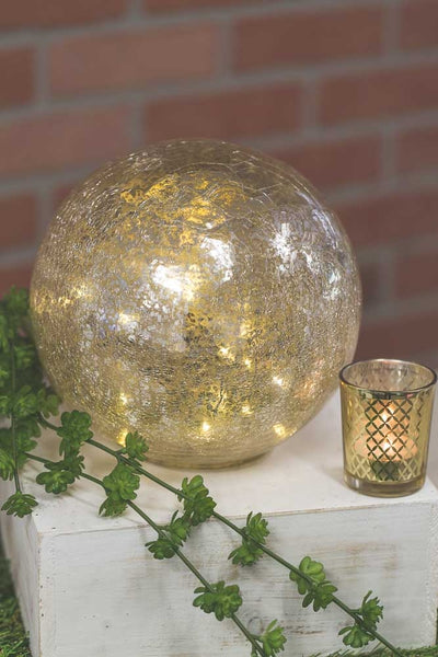 "Richland Mercury Glass Sphere with LED Lights 8"" Set of 6"