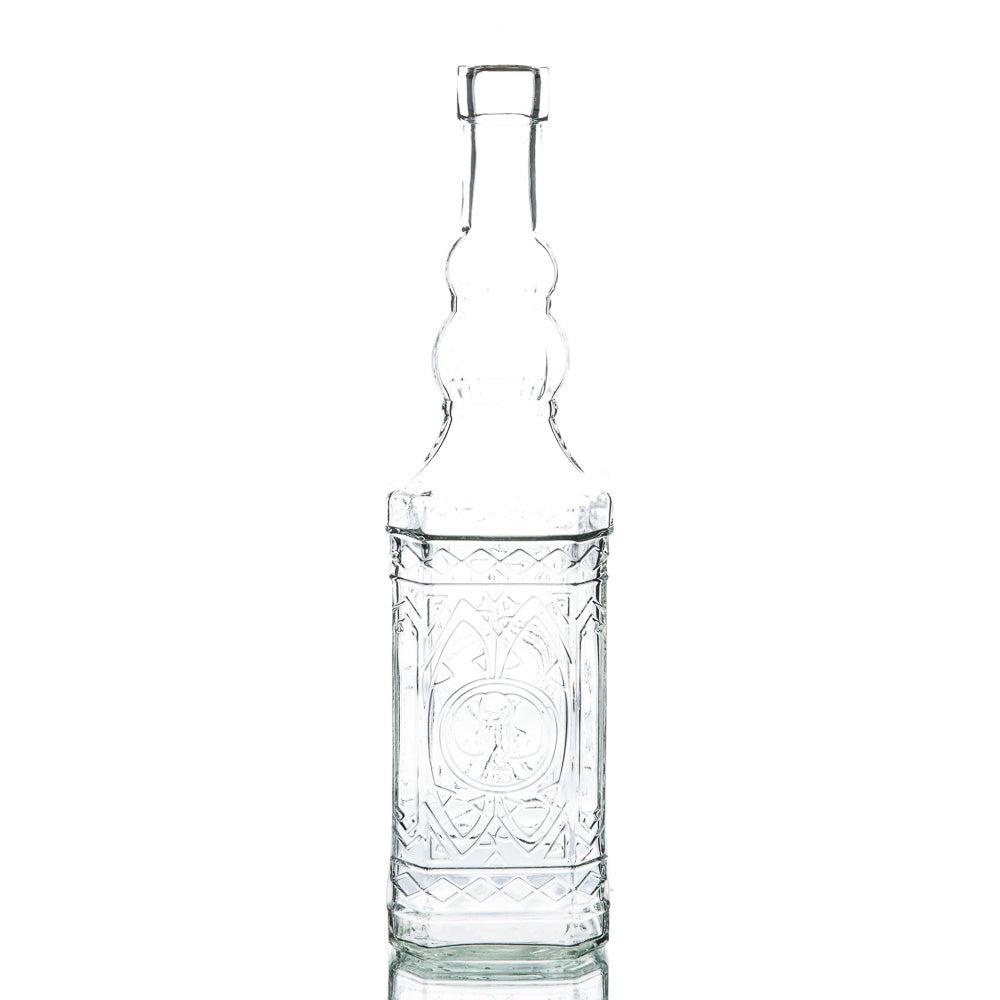 richland vintage square glass bottle clear set of 12