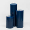 "Richland Pillar Candles 4""x6"", 4""x9"" & 4""x12"" Navy Blue Set of 3"