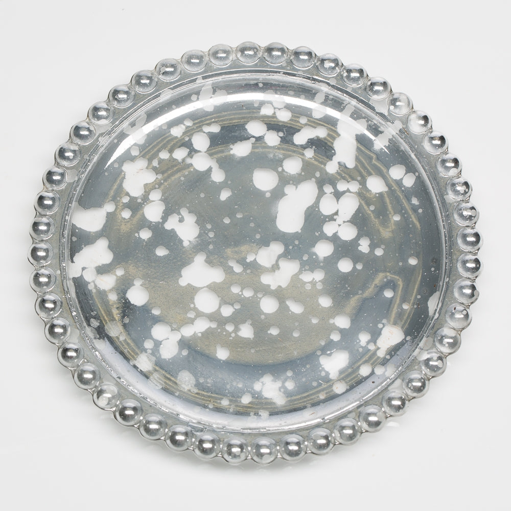 Richland Silver Beaded Mercury Pillar Plates Set of 12