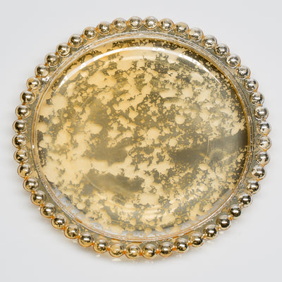 Richland Gold Beaded Mercury Pillar Plates Set of 48