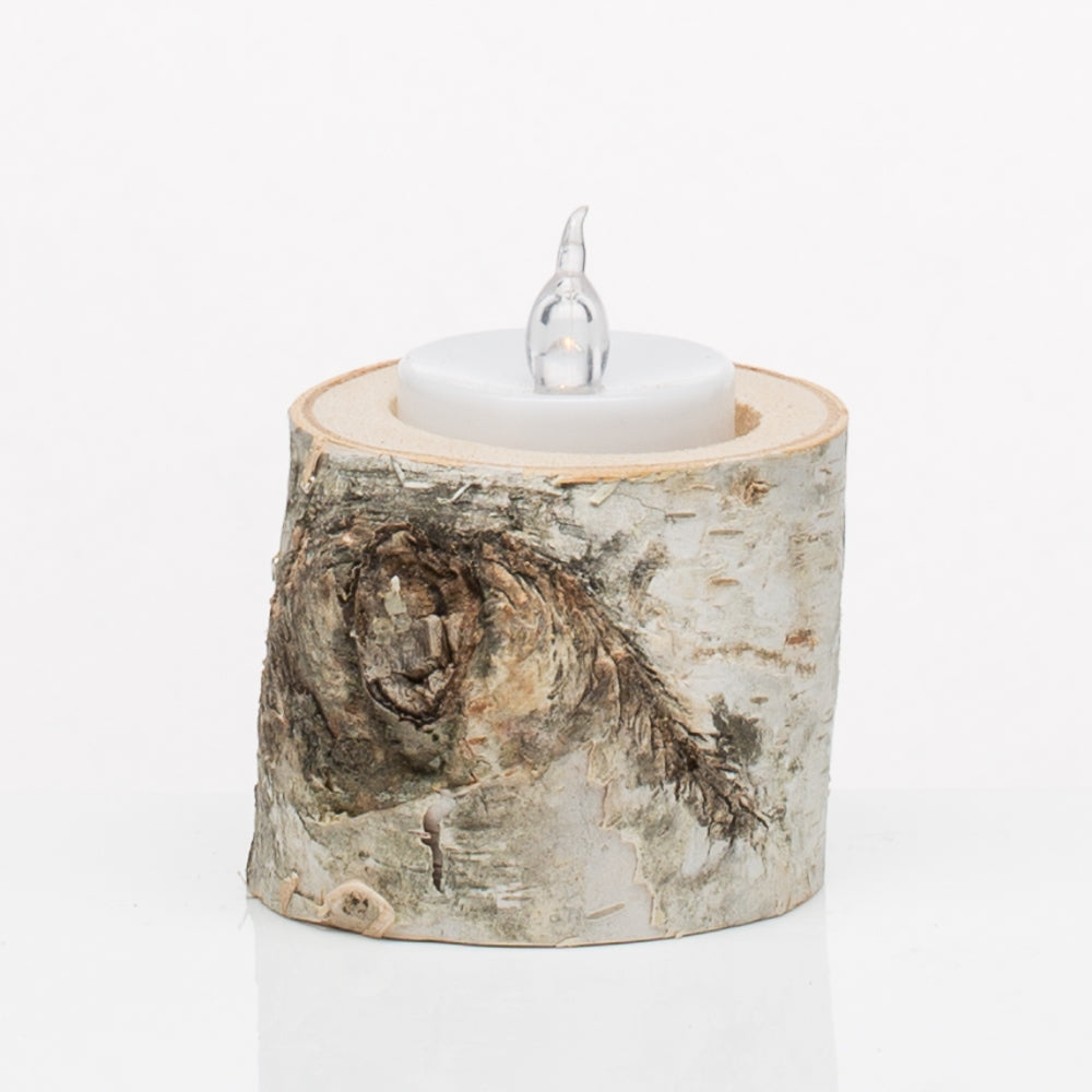 Natural Birch Tea Light Holder