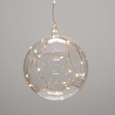 "Richland Clear Hanging LED Lighted Glass Balls 5.5"" Set of 6"