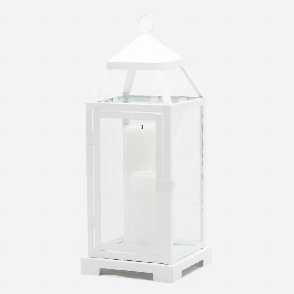 Richland White Contemporary Metal Lantern with Clear Glasses - Large
