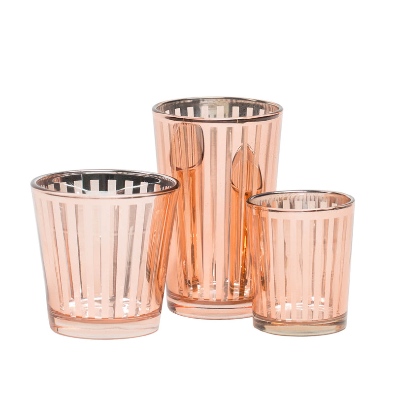 Richland Rose Gold Stripe Glass Holder - Small Set of 72