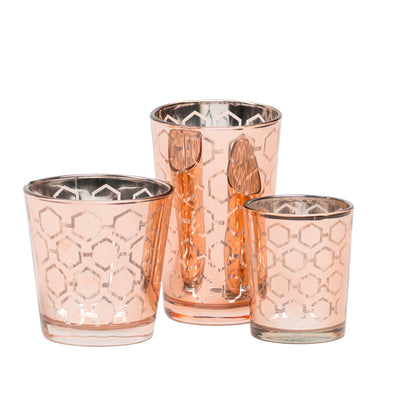 Richland Rose Gold Hexagonal Glass Holder - Small Set of 72
