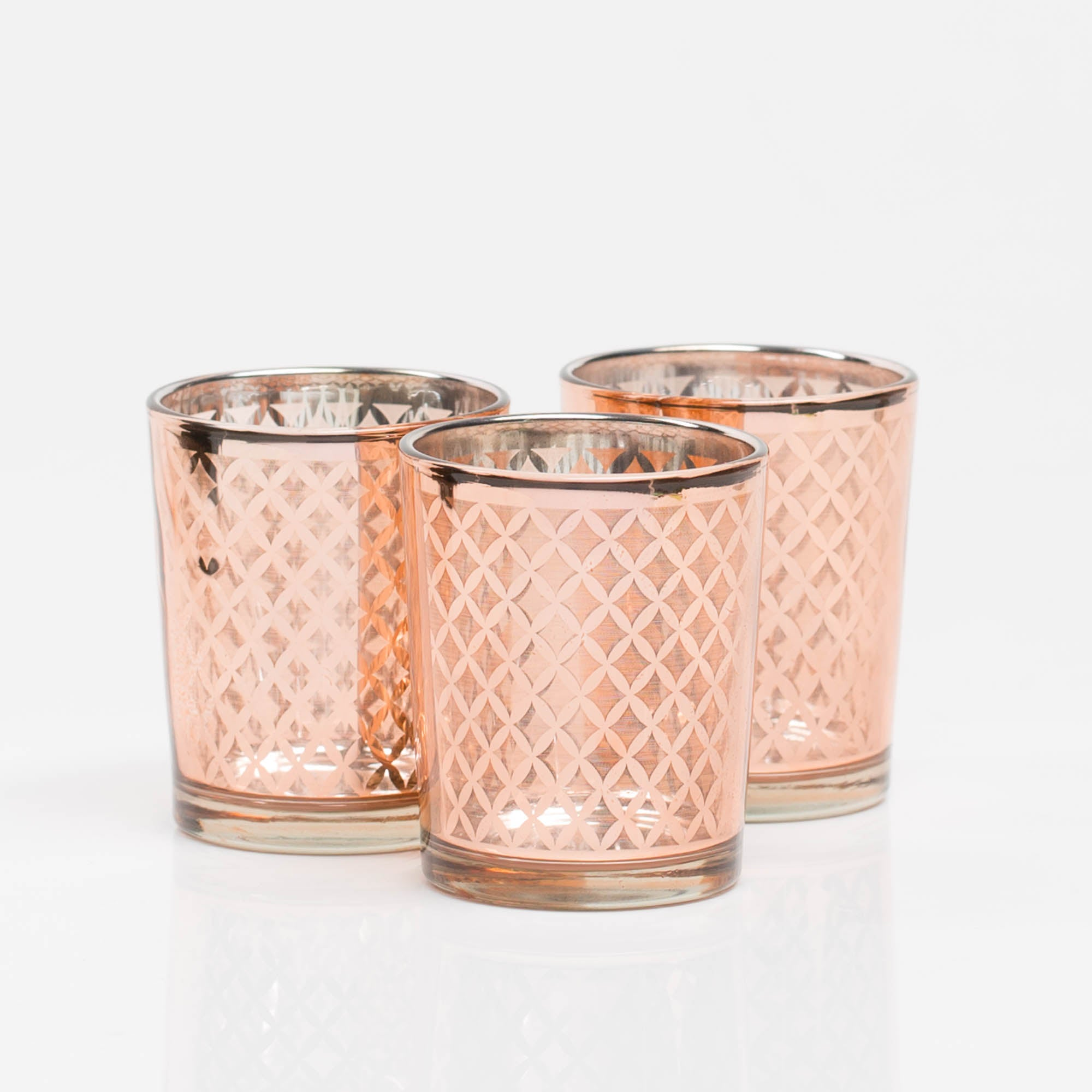 richland rose gold lattice glass holder small set of 12