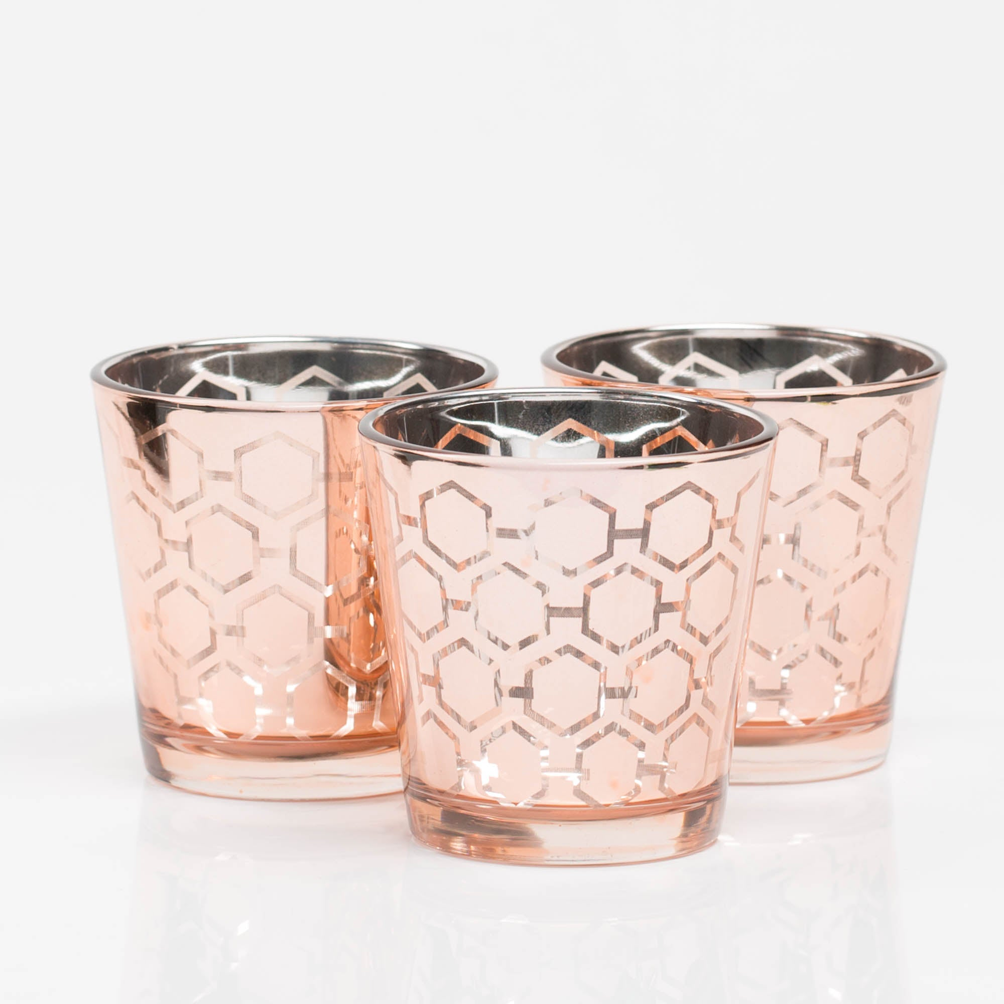 Richland Rose Gold Hexagonal Glass Holder - Medium Set of 6