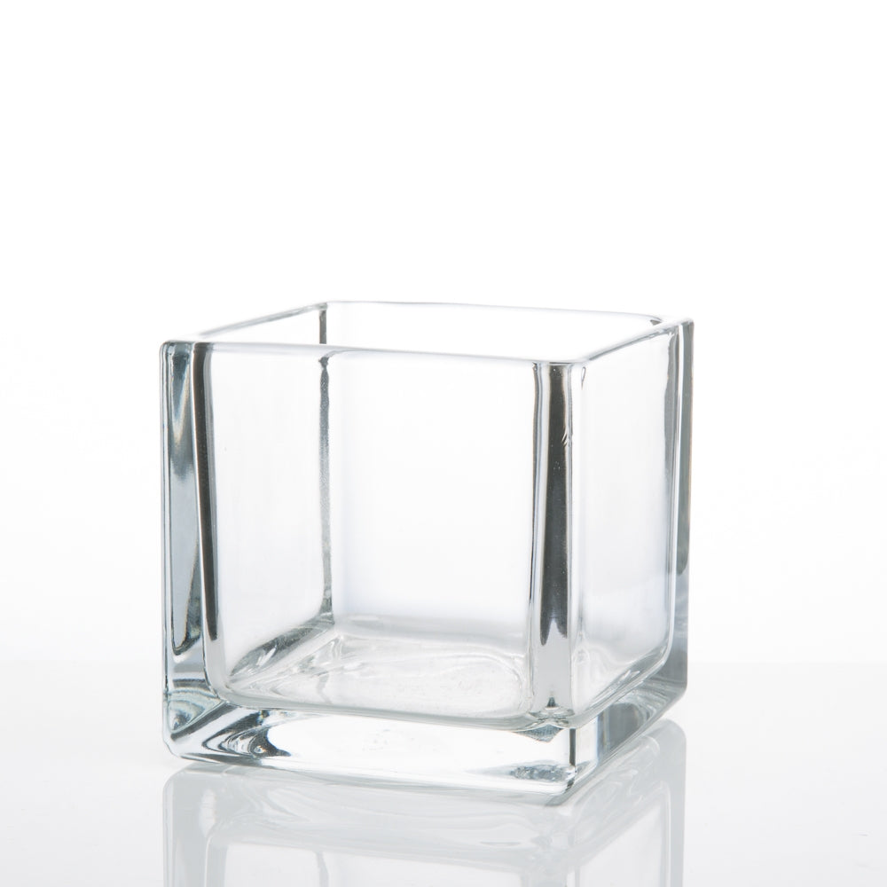"Richland Square Glass Cube Vase 4""  Set of 12"