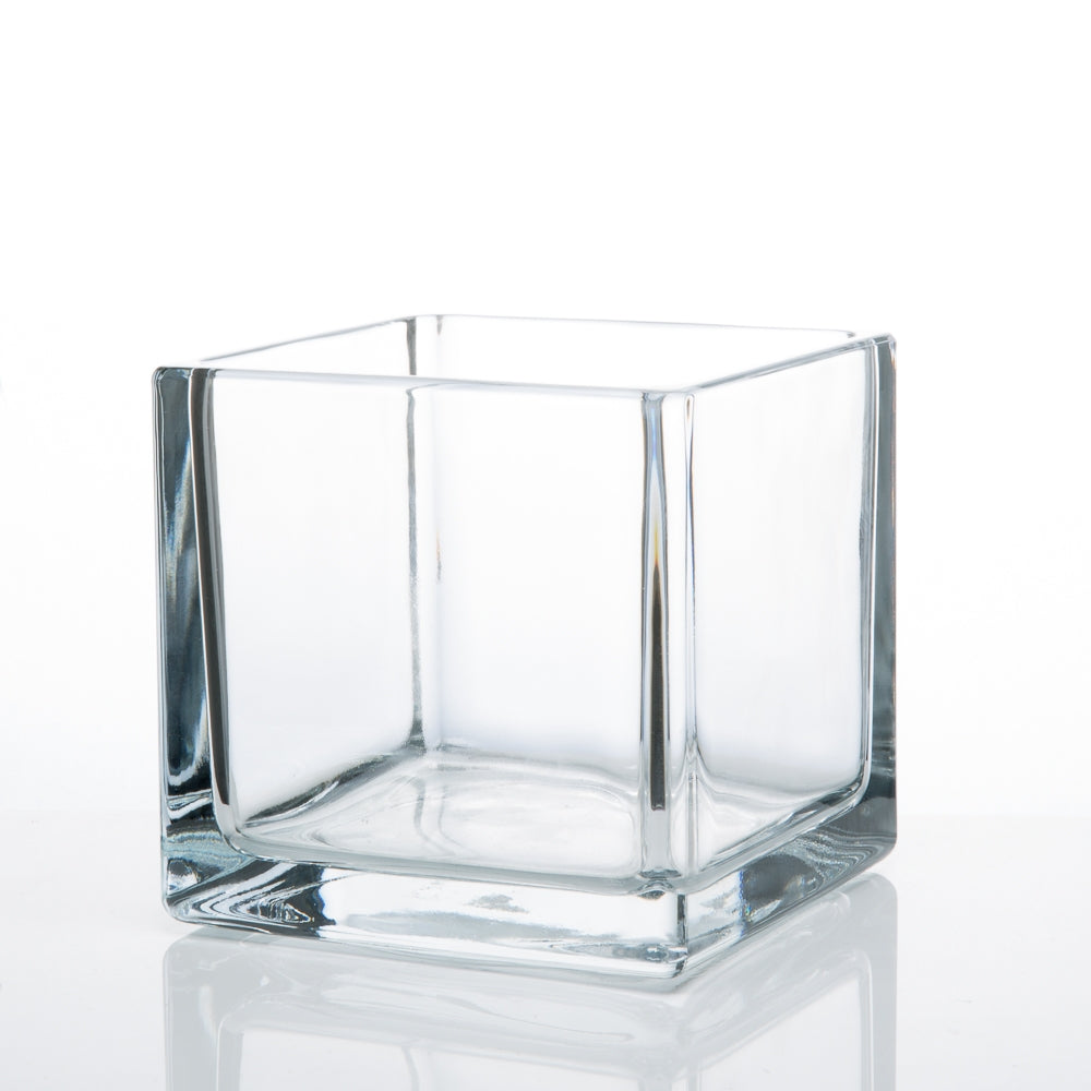 "Richland Square Glass Cube Vase 5"" Set of 12"