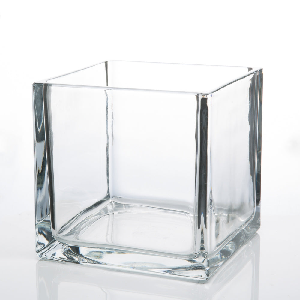 "Richland Square Glass Cube Vase 6"" Set of 12"