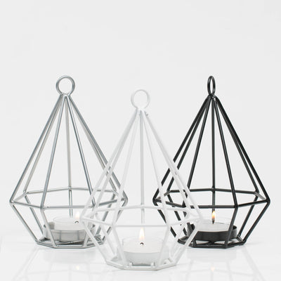 Richland Geometric Tealight Candle Holders - Black Set of 12