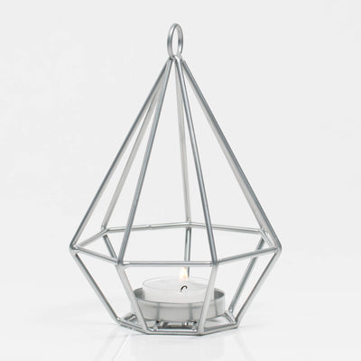 Richland Geometric Tealight Candle Holders - Silver Set of 2
