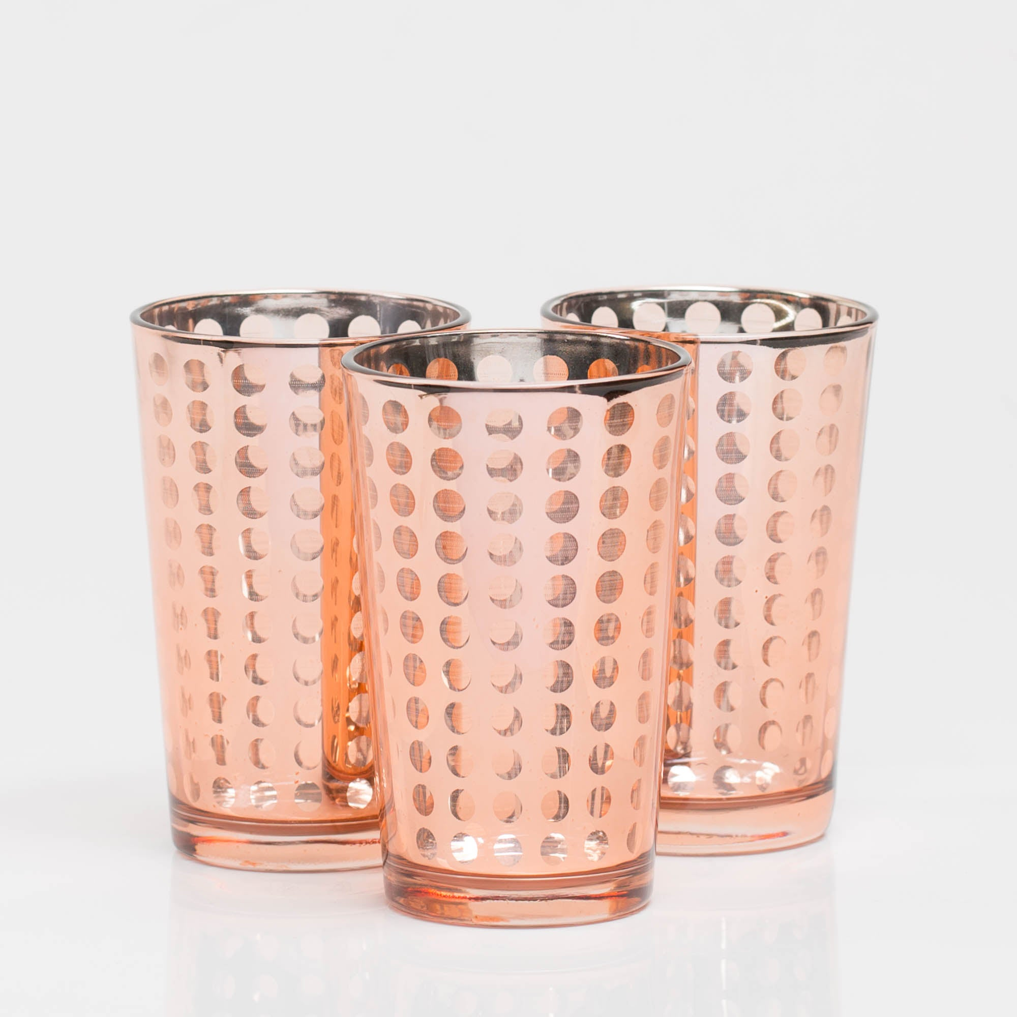 richland rose gold dotted glass holder large set of 48