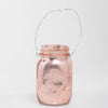 Richland Small Mercury Hanging Mason Jar with Clear Bead Handle - Rose Gold Set of 36