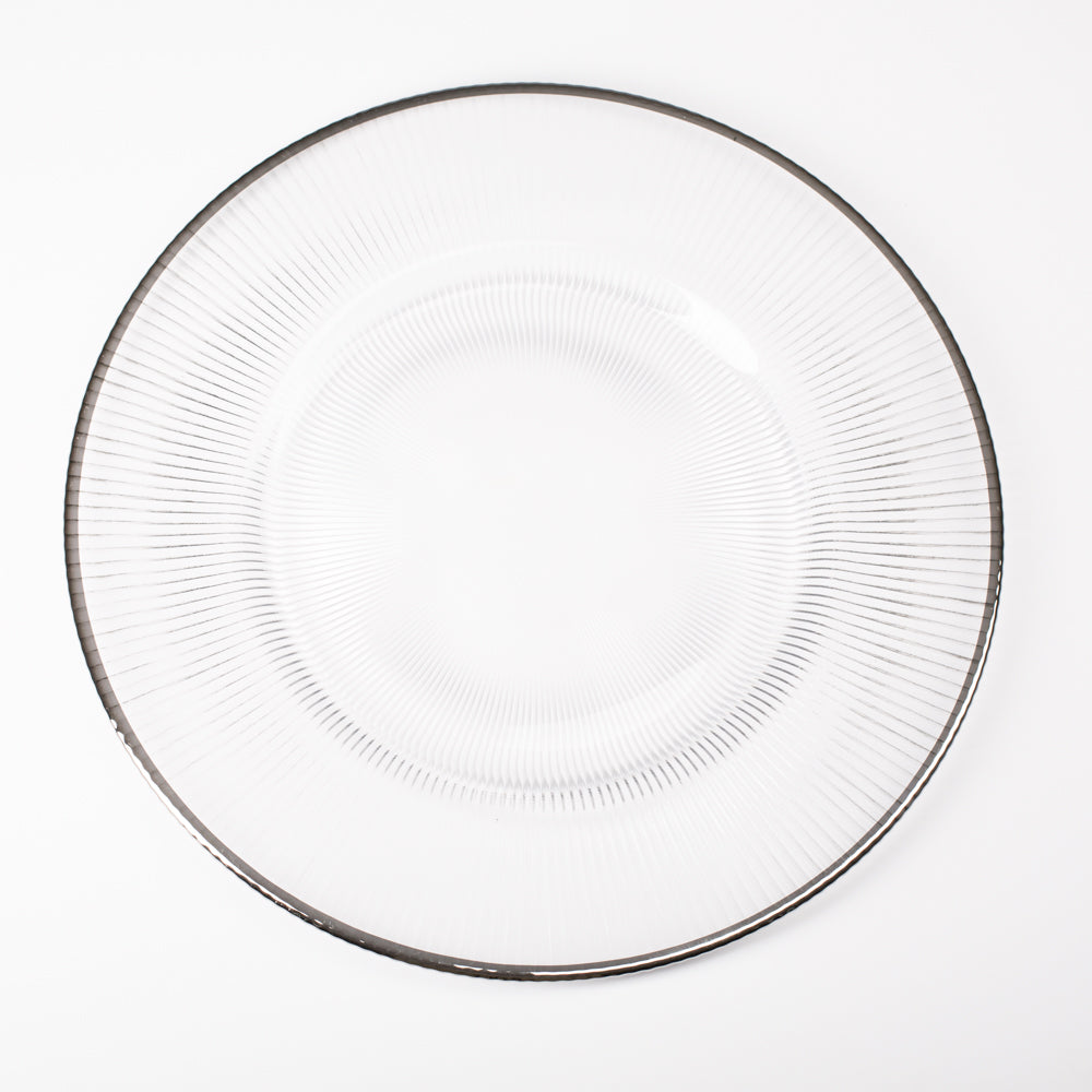"Richland 13"" Silver Rim Glass Charger Plate"