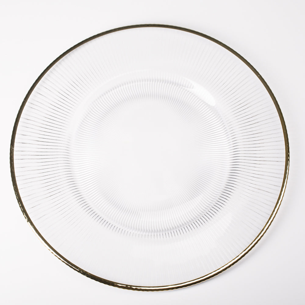 "Richland 13"" Gold Rim Glass Charger Plate"
