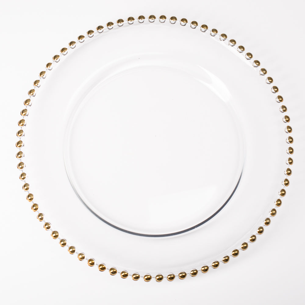 "Richland 13"" Gold Beaded Glass Charger Plate Set of 12"