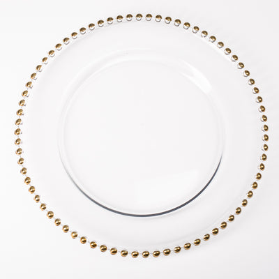 "Richland 13"" Gold Beaded Glass Charger Plate"