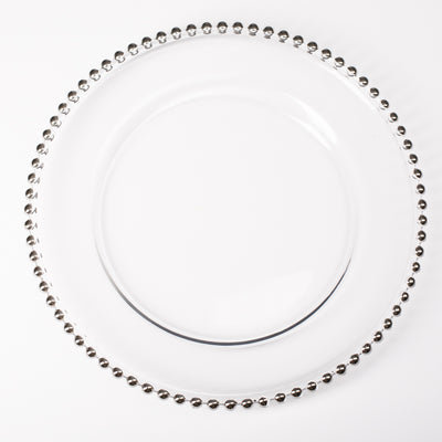 "Richland 13"" Silver Beaded Glass Charger Plate Set of 12"