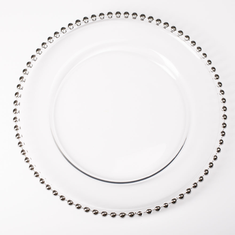 "Richland 13"" Silver Beaded Glass Charger Plate"