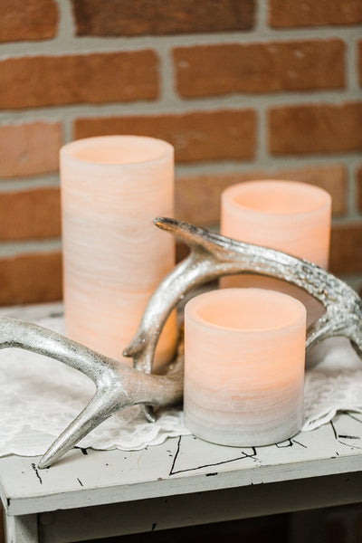 richland flameless led pillar candle marble 4 x 4 set of 12