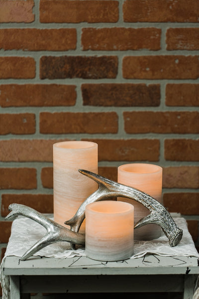 "Richland Flameless LED Pillar Candle Marble 4"" x 8"""