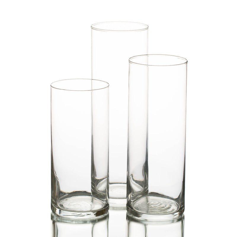 "Eastland Cylinder Vases 7.5"" , 9"" & 10.5"" Set of 36"