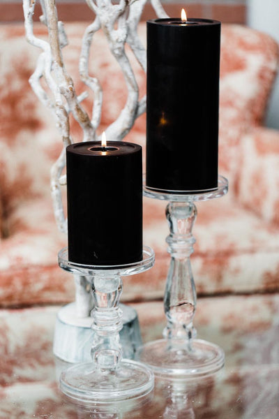 Richland O'Hara Glass Pillar & Taper Candle Holder Set of 2