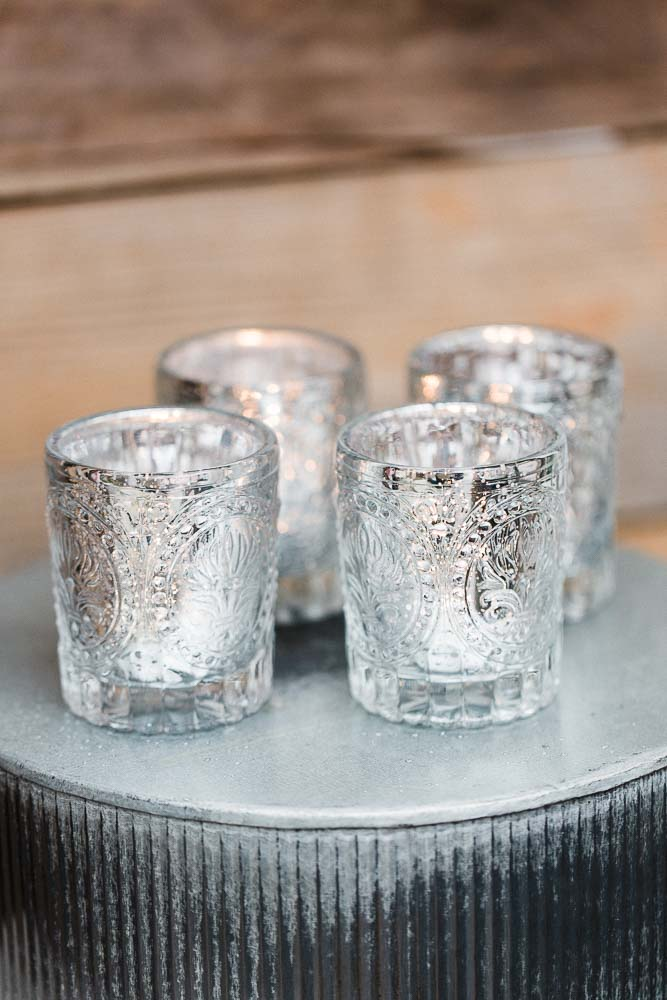 Richland Mercury Votive Holders Primrose Silver Set of 12