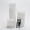 richland flameless led remote control wavy top pillar candle white 3 x3 3 x6 3 x9 set of 18