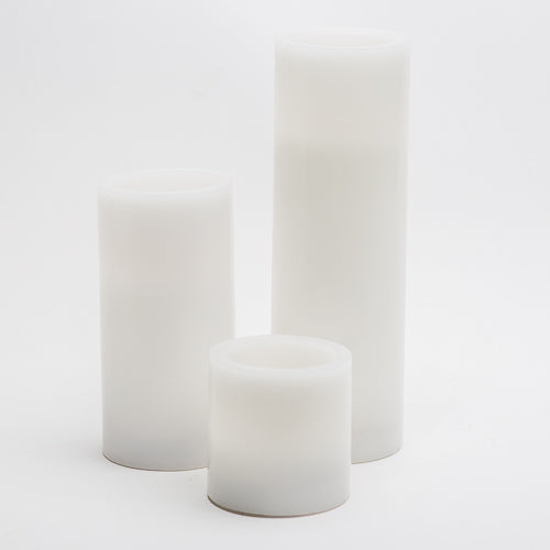 "Richland Flameless LED Pillar Candles 3""x3"", 3""x6"" & 3""x9"" White Set of 3"