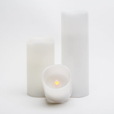 richland led wavy top pillar candles 3 x3 3 x6 3 x9 white set of 3