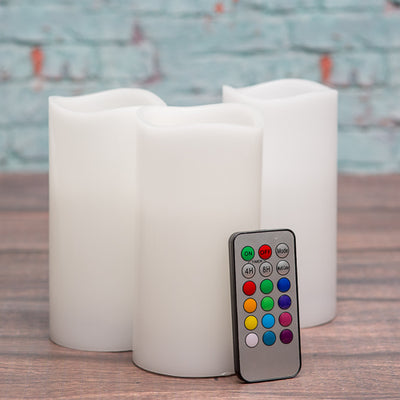 "Richland Flameless LED Remote Control Wavy Top Pillar Candle White 3""x6"" Set of 24"