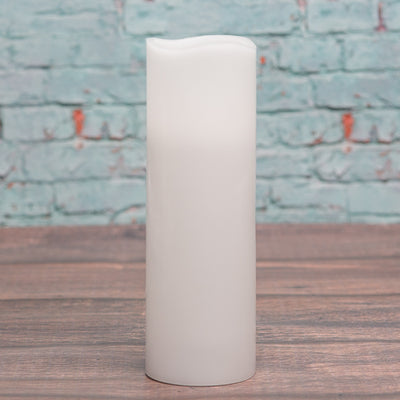 "Richland Flameless LED Wavy Top Pillar Candle White 3""x9"""