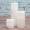 "Richland Flameless LED Wavy Top Pillar Candles 3""x3"", 3""x6"" & 3""x9"" White Set of 18"