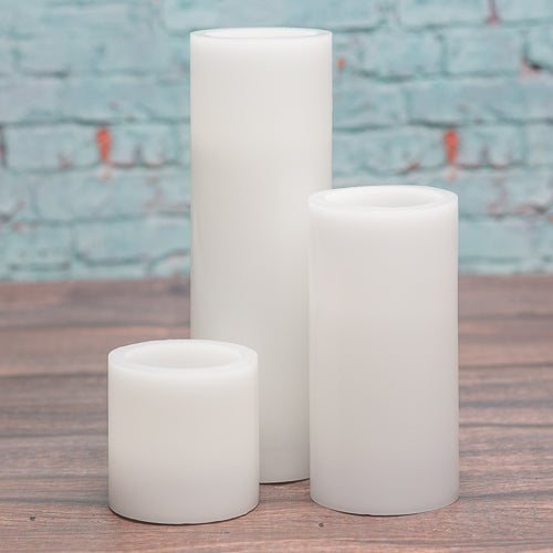 "Richland Flameless LED Pillar Candles 3""x3"", 3""x6"" & 3""x9"" White Set of 18"