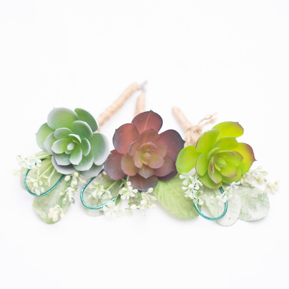 richland delford succulent boutonniere set of 36