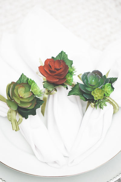 Richland Delilah Succulent Napkin Rings Set of 6