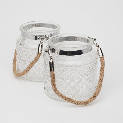 "Richland 4"" Textured Glass Hanging Holder with Twisted Rope Handle Set of 2"