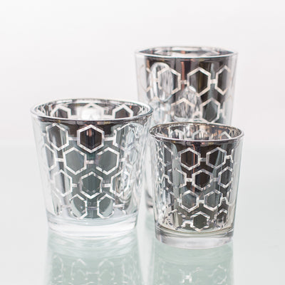 Richland Silver Hexagonal Glass Holder - Large Set of 6