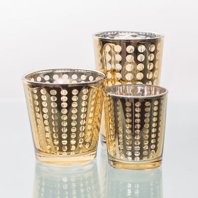 Richland Gold Dotted Glass Holder - Medium Set of 48