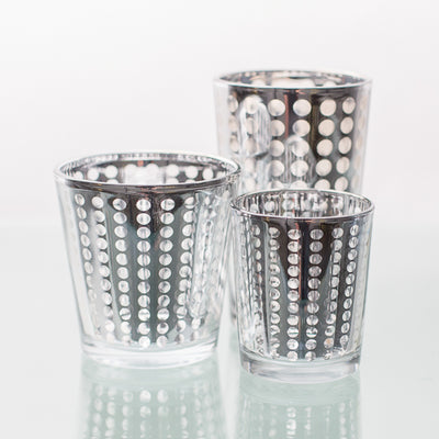 Richland Silver Dotted Glass Holder - Medium Set of 6