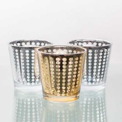 richland silver dotted glass holder medium set of 6