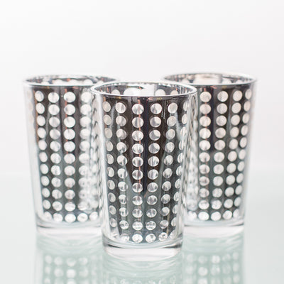 Richland Silver Dotted Glass Holder - Large Set of 6